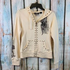 Harley-Davidson Cream Full Zip Hoodie with Appliqué Roses & Embroidery Sz S